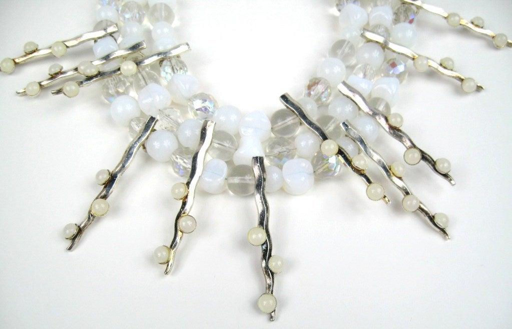 1990s Philippe Ferrandis Glass Choker Bib Necklace New Never worn  3