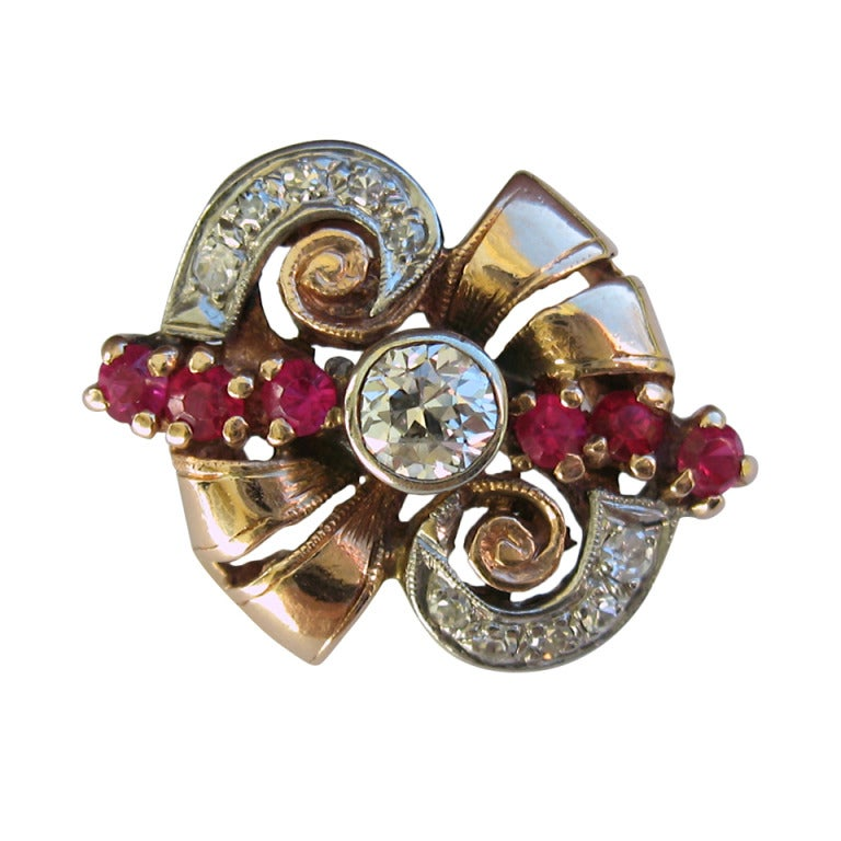 Rose gold art deco diamond ruby ring at 1stdibs for Deco maison rose gold