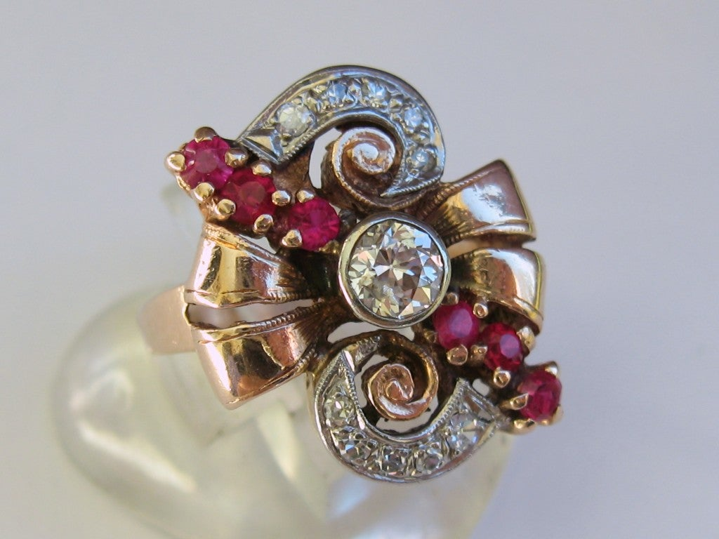 rose gold art deco diamond ruby ring at 1stdibs. Black Bedroom Furniture Sets. Home Design Ideas