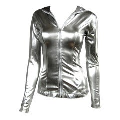Vintage Norma Kamali Silver Metallic Hoodie 1980s