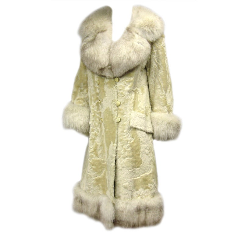 Cream colored Vintage Broadtail Lamb and Fox Coat, 1970s