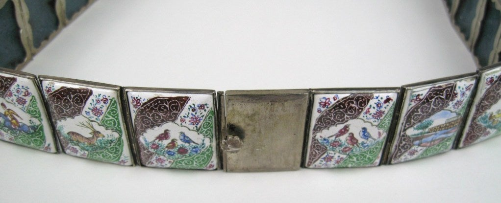 Each tile with its silver frame measures 1 inch by 3/4 inch.  Measures 29 in long  This piece was purchased and stored away until now.