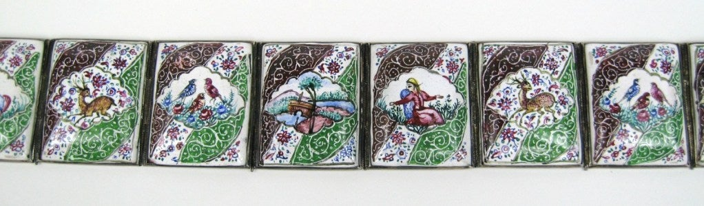 Antique Chinese Enamel Silver Tile Belt For Sale 2