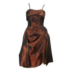 1950s Emma Domb Metallic  Copper Wiggle  Dress