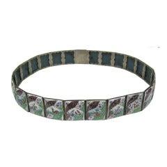 Antique Chinese Enamel Silver Tile Belt