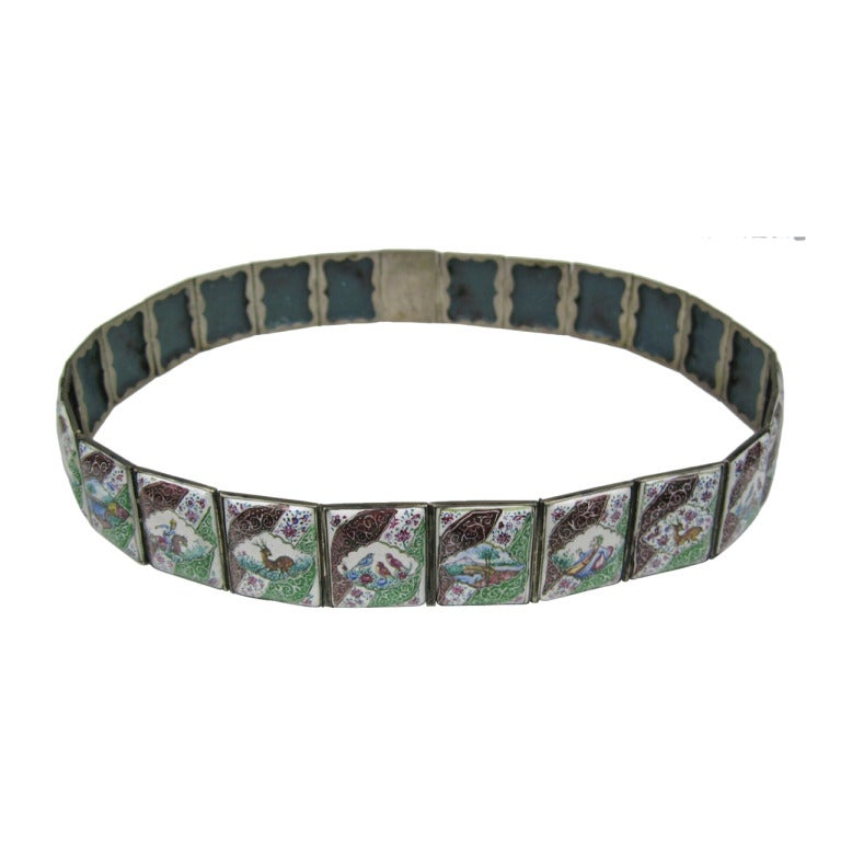 Antique Chinese Enamel Silver Tile Belt For Sale