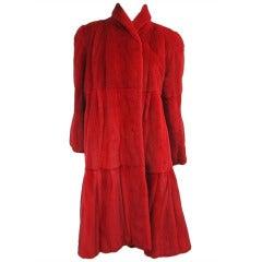 Red Sheared Mink Swing Coat