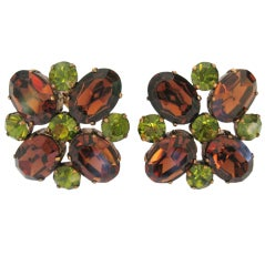 1980's Dominique Aurientis Rhinestone Earrings new old stock