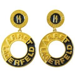 1990's Karl Lagerfeld 14 Blvd. De La Madeleine Couture Dangle Earrings