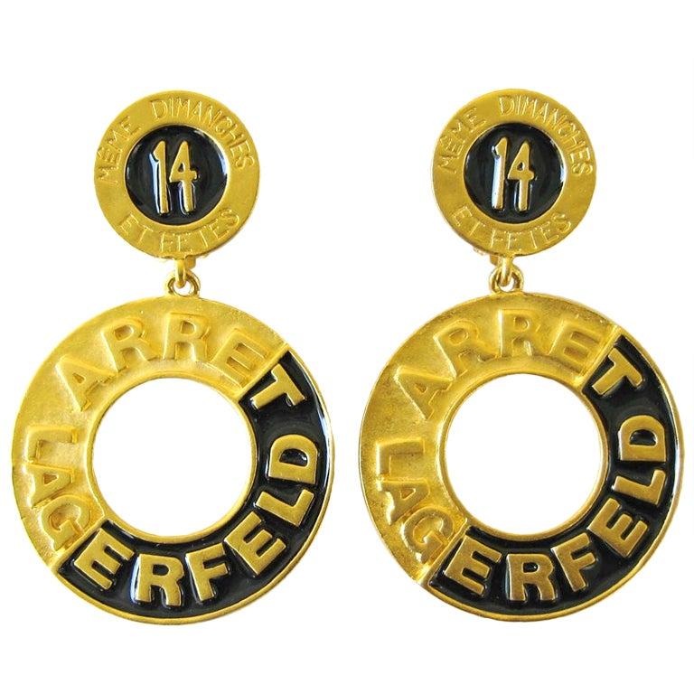 1990's Karl Lagerfeld 14 Blvd. De La Madeleine Couture Dangle Earrings 1