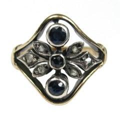 Antique 12K Gold Sapphire & Mine Cut Diamond Ring