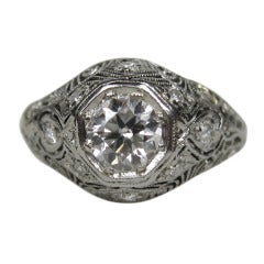 Platinum Diamond Art Deco Filigree Engagement Ring