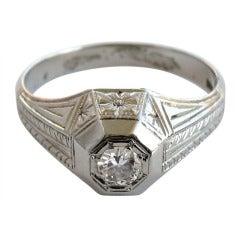 1920's 18K Gold Art Deco WG Diamond Ring