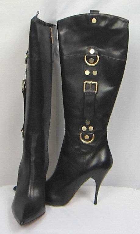 cesare paciotti stiletto high heel black leather boots at