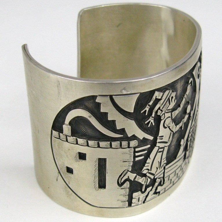 Another stunning sterling silver bracelet  Measures 1.75 in wide We fit a 6.25 to 7 inch wrist nicely. You can squeeze to make it a bit smaller or larger  We  have a huge collection of Navajo, Hopi, Zuni  and Southwestern jewelry available  Any