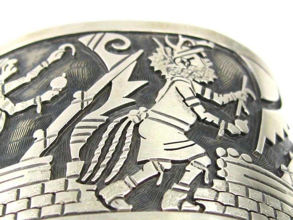 Women's Wide Sterling Silver Southwestern Story Teller Bracelet For Sale