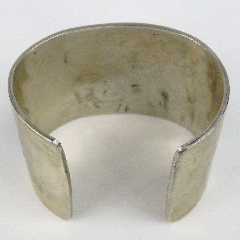 Wide Sterling Silver Southwestern Story Teller Bracelet For Sale 1
