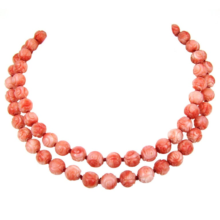 carved coral bead necklace at 1stdibs