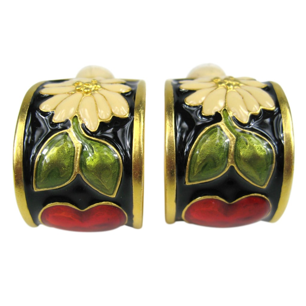 Colorful floral motif Karl Lagerfeld earrings 1
