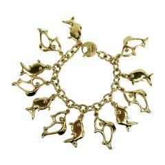 1980's Yves Saint Laurent YSL Gold Fish Charm Bracelet New Never worn