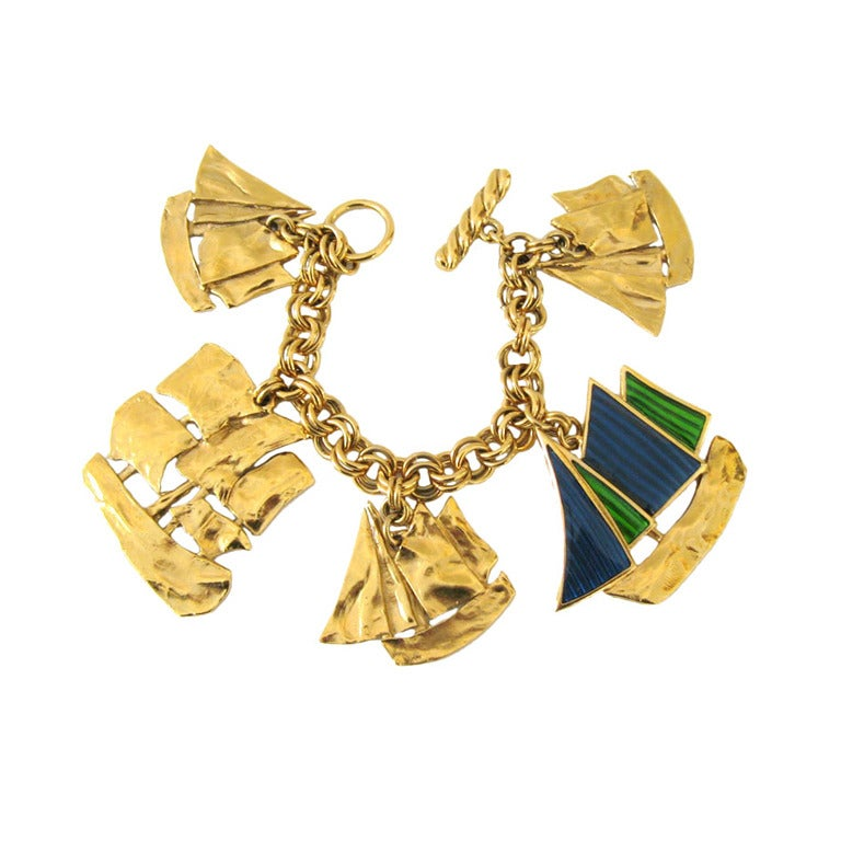 Yves saint laurent ysl sailboat enameled charm bracelet new never worn for sale at 1stdibs - Bracelet yves saint laurent ...