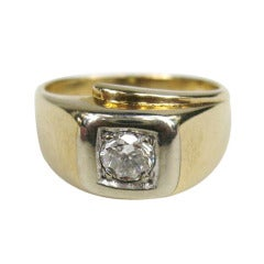 Mid Century 14K Gold Men's Diamond Ring