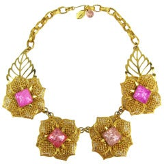 1990s Philippe Ferrandis Pink Floral Gripoix Glass Necklace New Never Worn
