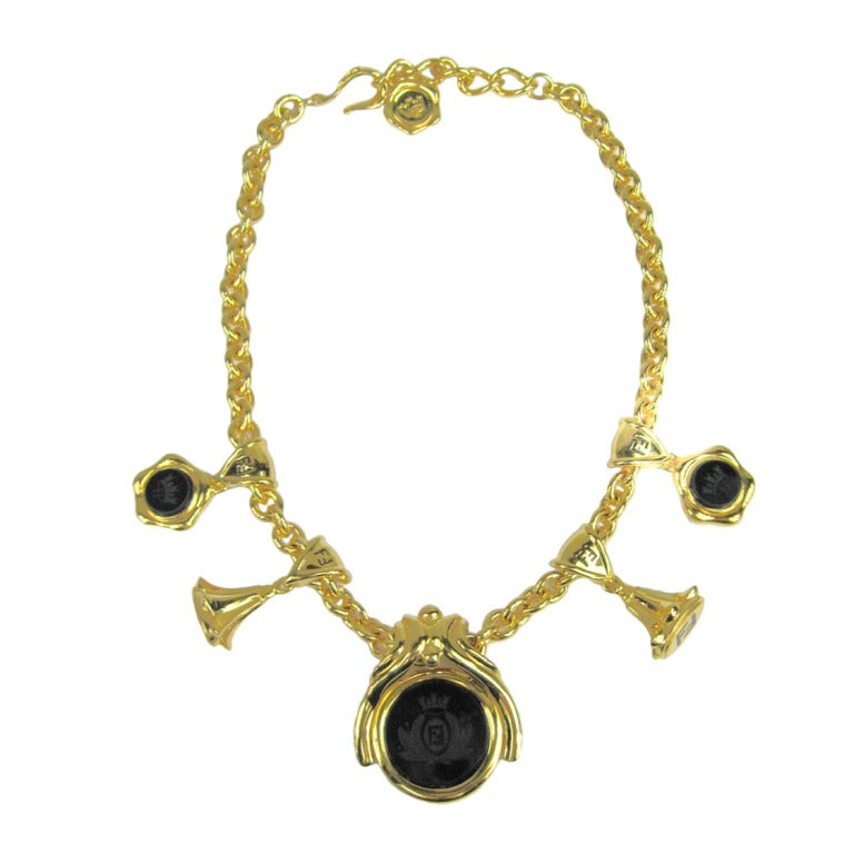 vintage fendi crest black matte necklace for sale at 1stdibs