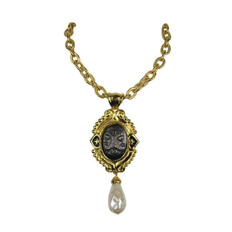 vintage fendi coin necklace janus ff logo