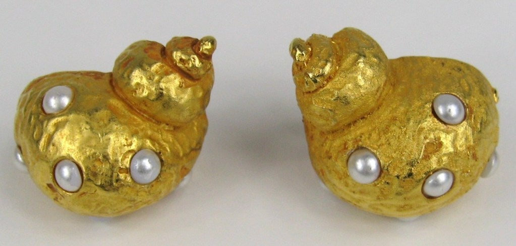 Dominique Aurientis Snail Earrings New Old Stock Never worn 1990s  2