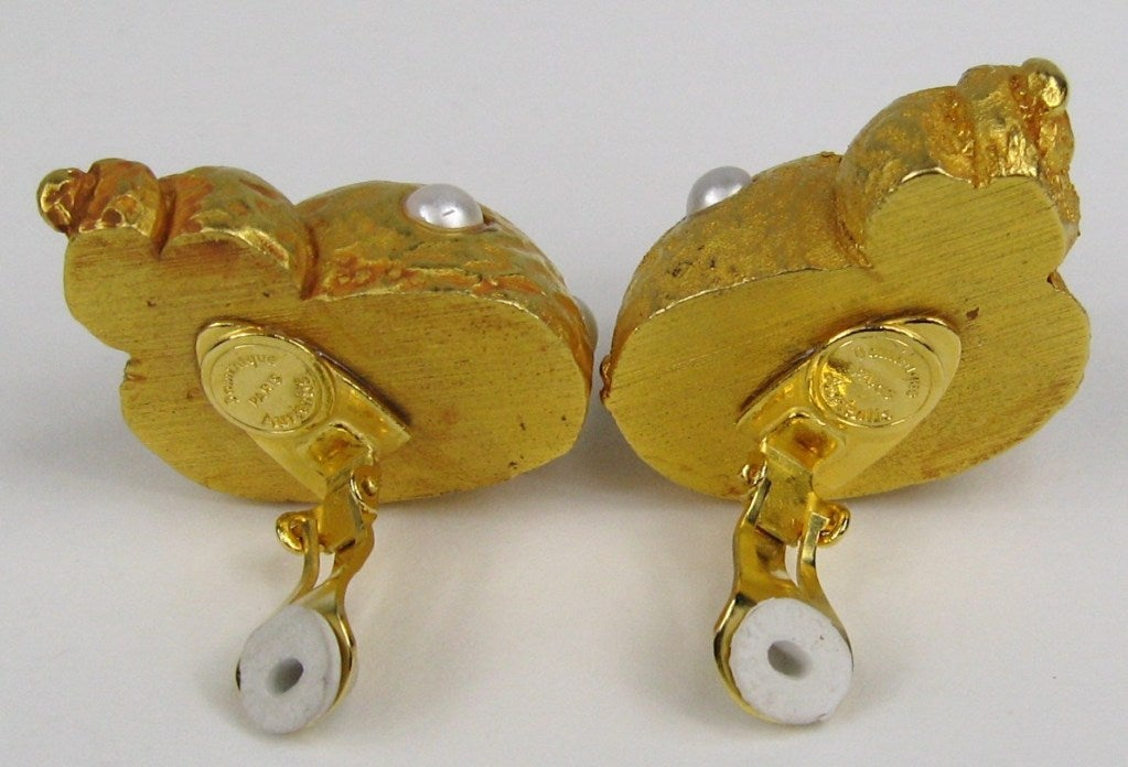 Dominique Aurientis Snail Earrings New Old Stock Never worn 1990s  3