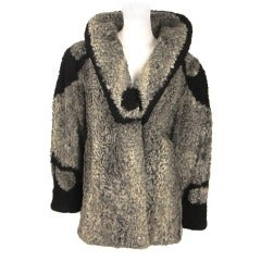 Vintage Rare 1940s Silver / Black Persian Lamb Coat Jacket