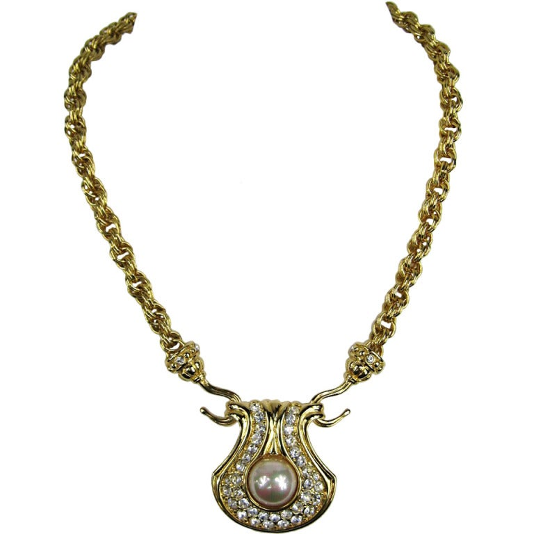 nolan miller pave rhinestone pearl necklace 90s at 1stdibs