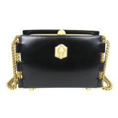 1990's BARRY KIESELSTEIN CORD Black Lux Leather Handbag Never used