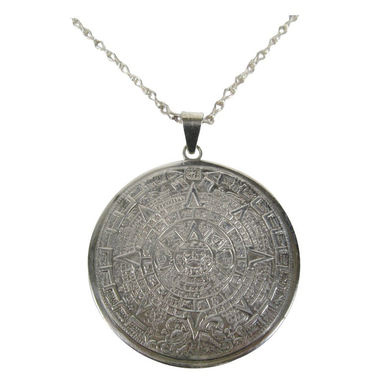 aztec mayan calendar sterling pendant necklace at 1stdibs