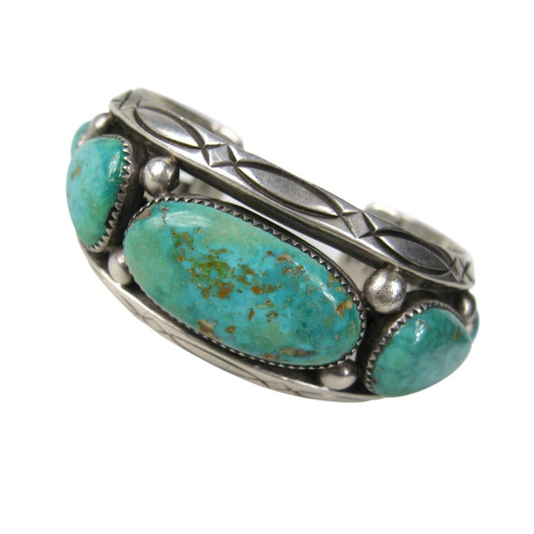 southwestern orville tsinnie navajo silver turquoise cuff