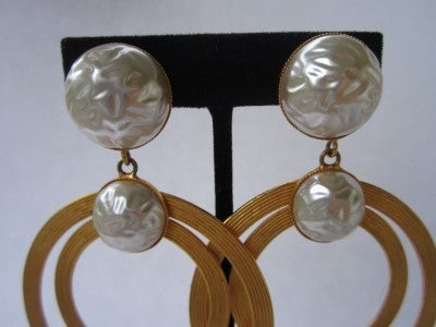 Vintage Dominique Aurientis Large Double Pearl Hoop Earrings 1980'sNew Old stock 3