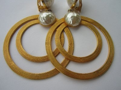 Vintage Dominique Aurientis Large Double Pearl Hoop Earrings 1980'sNew Old stock 4