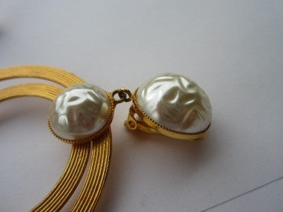 Vintage Dominique Aurientis Large Double Pearl Hoop Earrings 1980'sNew Old stock 5