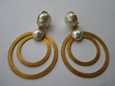 Vintage Dominique Aurientis Large Double Pearl Hoop Earrings 1980'sNew Old stock 6