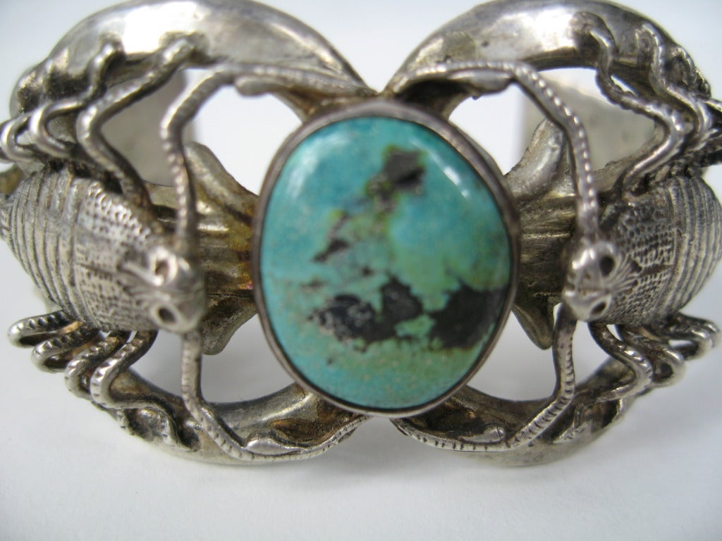 southwestern navajo scorpion bracelet turquoise at 1stdibs