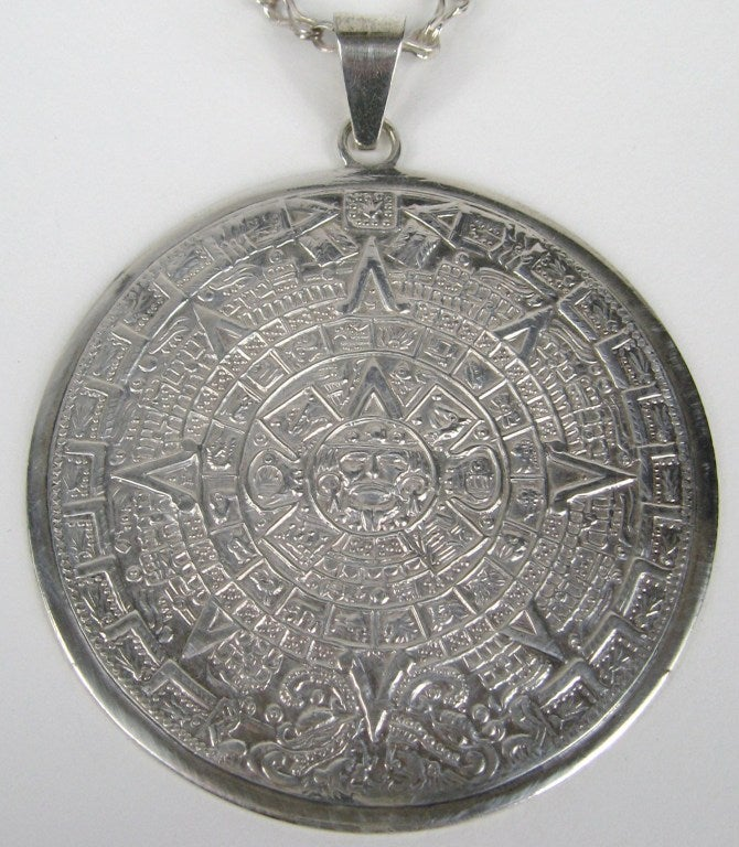 Aztec Calendar Necklace: Aztec Mayan Calendar Sterling Pendant Necklace At 1stdibs
