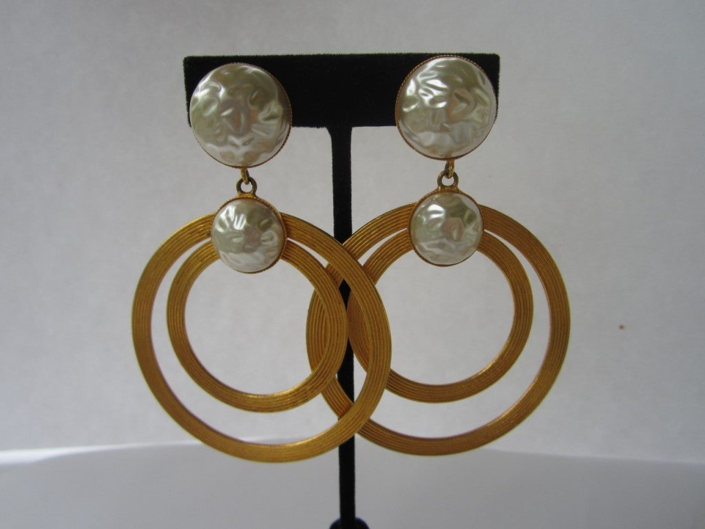 Vintage Dominique Aurientis Large Double Pearl Hoop Earrings 1980'sNew Old stock 2