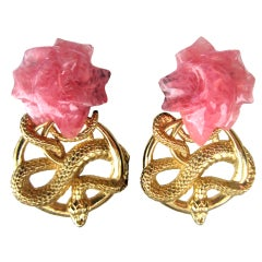 1990s Stephen Dweck Sterling Silver Rose Quartz Serpent Snake Earrings