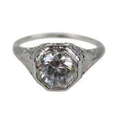 14K White Gold Art Deco Filigree White Sapphire Ring