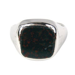 Mid Century Bloodstone 14kt White Gold Ring