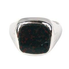 Mid Century Bloodstone 14kt White Gold Ring