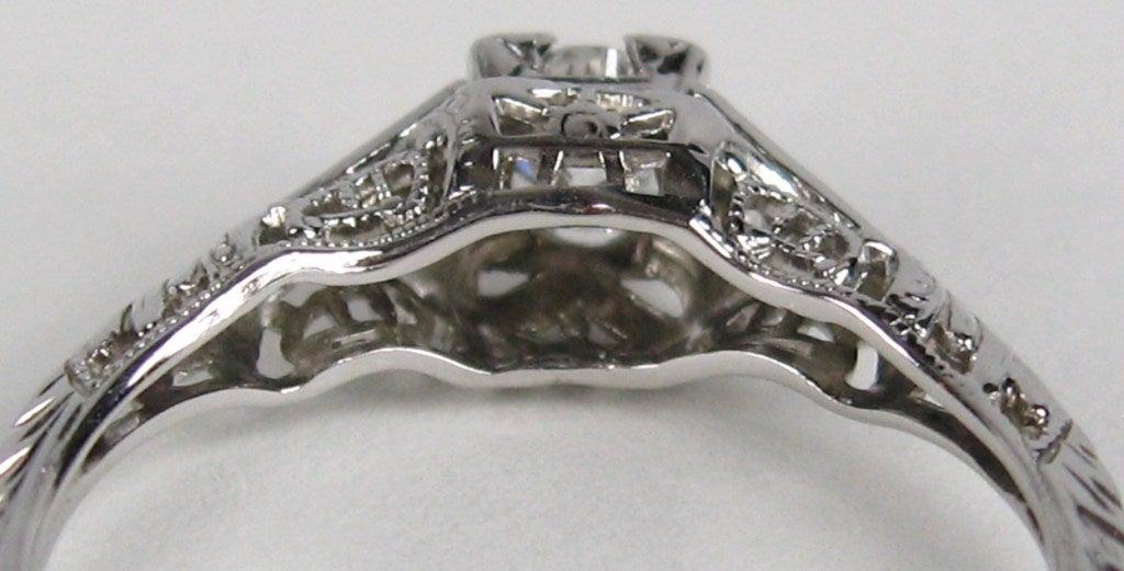 Art Nouveau Diaond Engagement Ring K White Gold Custommade Com