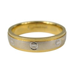 18K Gold Wedding Band Two Tone White & Yellow Gold
