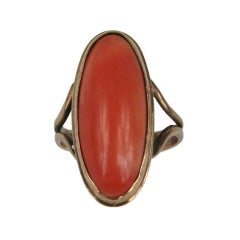 Antique 10K Oval Coral Victorian Gold Ring